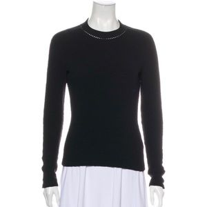 CARVEN Black Wavy Knit Pullover Sweatshirt